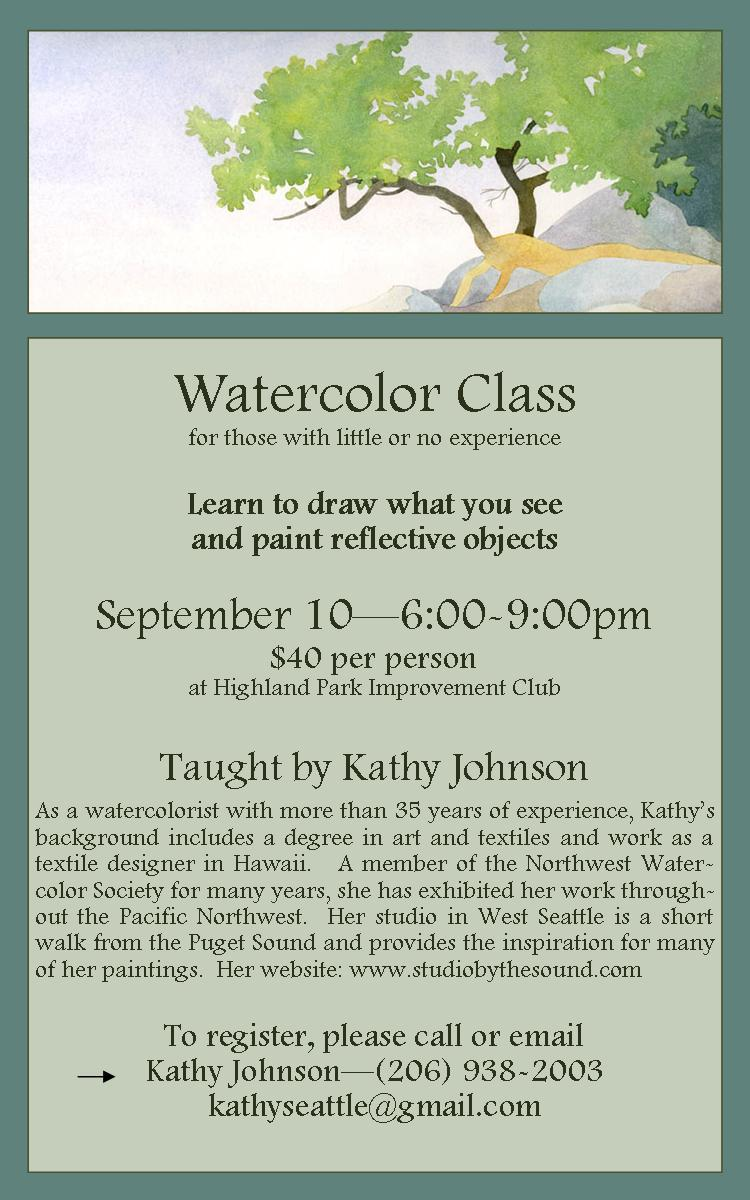 Highland Park Watercolor Class