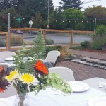 Ready for dinner, celebrating the fence and the volunteers